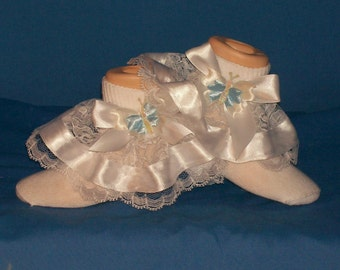 Boutique Blue Butterfly Ribbon Lace Socks