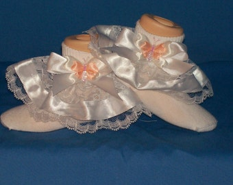 Boutique Custom Made Peach Butterfly Ribbon Lace Ruffle Socks