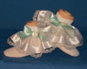 Boutique Fancy Feet seafoam bow pageant ruffle socks