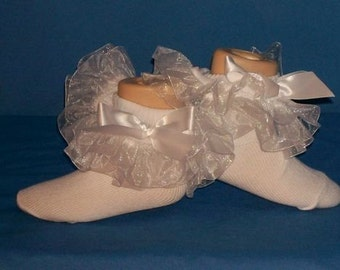 Custom-made double ruffle white organza socks available in children or adults