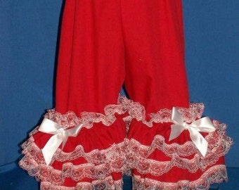 Boutique Red With Glitzy Red Hearts Ruffled Pantaloon