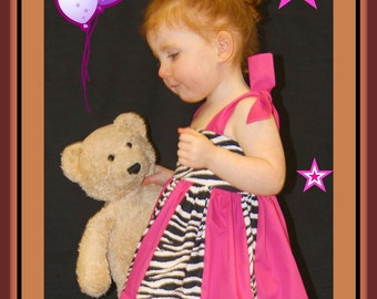 Stephanie Collection Boutique Zebra and Hot Pink Sundress Set