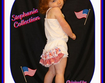 Stephanie Collection Boutique OOAK Strawberry Shortcake Forth Double Ruffle Panties...Made and Ready to Ship