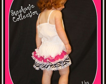 Stephanie Collection Double Ruffle Zebra and Hot Pink Panty or Diaper Cover