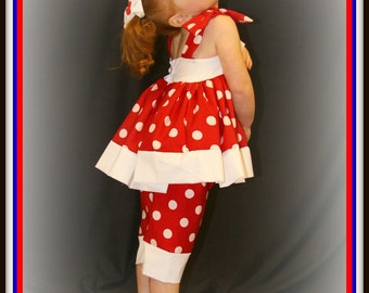 Stephanie Collection Boutique OOAK Mickey Mouse Red and White Dot Two Piece Set