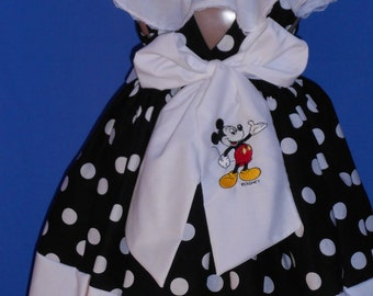Boutique OOAK Custom Made Larger Sizes Mickey Mouse Embroidered Dress Set