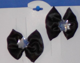 Boutique Custom Made OOAK Pageant Black Satin Hairbows