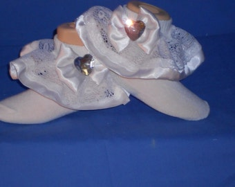 Boutique Custom Made OOAK Pageant White Satin and Lace Ruffle Socks
