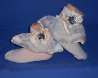Boutique Custom Made OOAK Pageant Ivory Satin and Lace Ruffle Socks