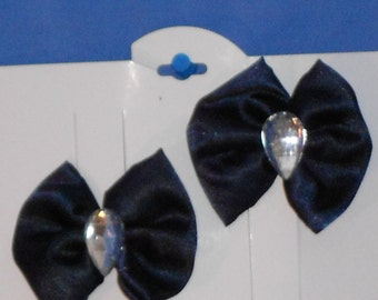 Boutique Custom Made OOAK Pageant Navy Satin Hairbows