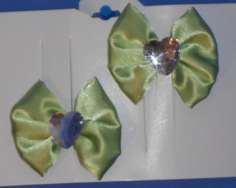 Boutique Custom Made OOAK Pageant Lime Satin Hairbows