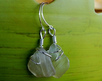 Arctic party mermaid's tear seaglass earrings on sterling silver