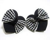 Black Heart Plaid Bow Stud Earrings