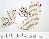 Little birdie magnet - upcycles vintage cookbook text and illustrations of vegetables