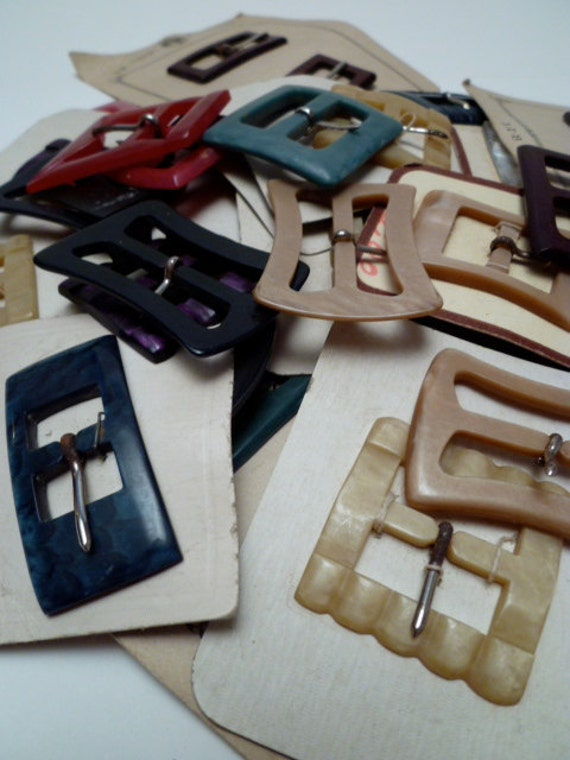 RESERED for leah VINTAGE BUCKLES mixed set of 20