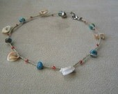 Handmade Read Turquoise and Shells Anklet Beach Jewellery Bohemian Semi Precious Coral Sterling Silver Bell