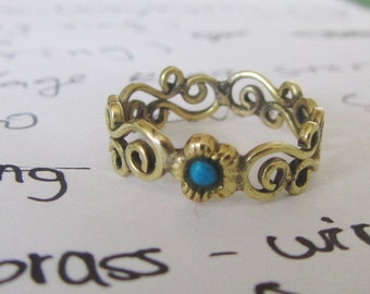 vintage style claddagh brass  ring turquoise jewelry