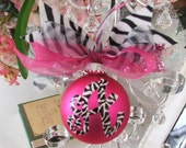 Whimsical zebra monogrammed and handpainted ornament