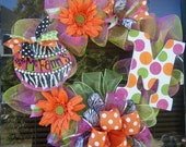 ORIGINAL...WhImsIcaL  monogram n poly Personalized Seasonal 24 inch wreath......summertime fun