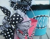 bitty buckets.....handpainted monogrammed and personalized easter bucket and basket....love those zebra stripes..
