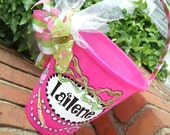 beach bucket, pail, birthday, gift basket...handpainted  personalized princess party buckets... ..design your own......