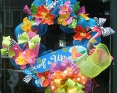 flip flops, flamingos...surfs up dude....WhImsIcaL  summertime polymesh   Seasonal 24 inch wreath......