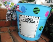 design your own bucket, basket, bin, easter  fun, polka dots, zebra, whimsical fun...monogrammed and personalized ..