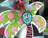 polka DoTTED palm, with southern SASS.... a summer design, ........ORIGINAL..aDOORable aDOORnments... DOOR jewelry.......