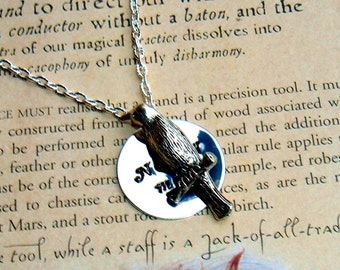 The Raven Nevermore Edgar Allan Poe Hand Stamped Pendant Necklace