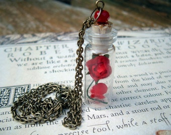Enchanted Rose Beauty and the Beast Glass Vial Pendant Miniature Bottle
