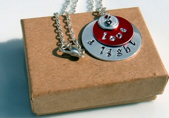 Love & Light Hand Stamped Stacked Color Pendant