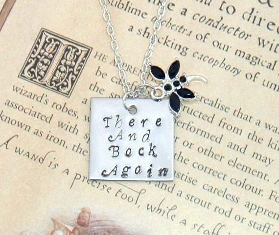 Lord of the Rings The Hobbit Tolkien Hand Stamped Pendant Necklace There and Back Again