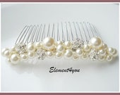 Bridal hair comb, wedding hair accessories, bridal headpieces, rhinestone hair comb bridal ,wedding hair comb, bridal pearl, white ivory