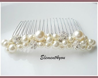 Bridal hair comb, wedding hair accessories, bridal headpieces, rhinestone hair comb bridal ,wedding hair comb, bridal pearl, white ivory