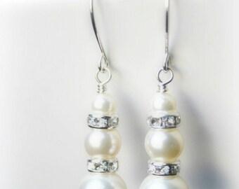 Pearl earrings Bridal Swarovski Wedding gift Bridesmaid Ivory White Sterling silver Pink White pearls Simple pearl drop Short dangle