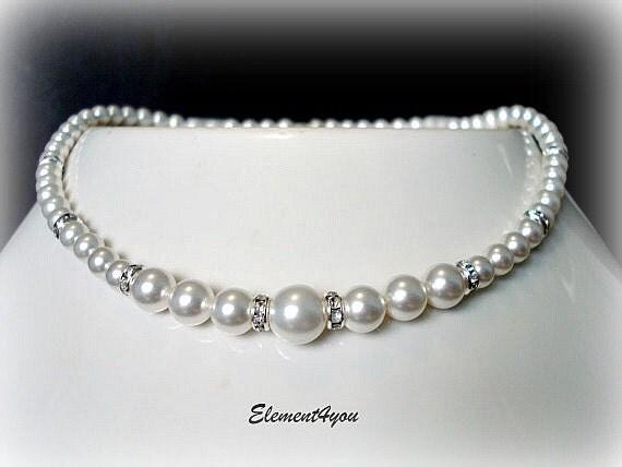 Bridal Pearl Necklace, Wedding Jewellery, Swarovski Pearls, Classic single strand pearl, Bridesmaid jewelry, Blue Pink Champagne Purple