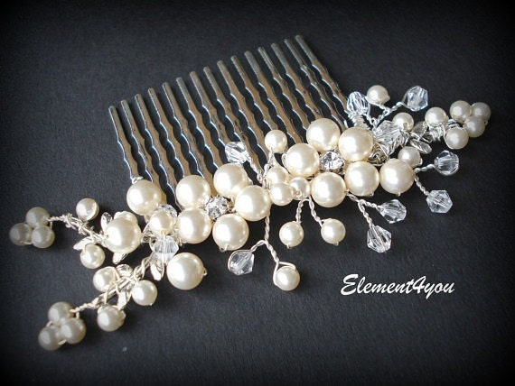 Bridal hair comb Pearl floral Wedding hair piece headpiece Silver comb fascinator for bride Swaorvski pearls Ivory Vines branches Beaded
