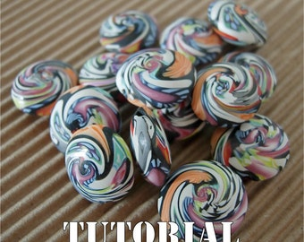 Tutorial - Polymer Clay Easy Swirled Lentil Beads