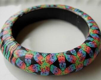 Basket Weave Bangle, Polymer Clay Bangle, Millefiori Bracelet, Handmade Bangle, Custom Jewelry, Statement Bracelet, Wearable Art