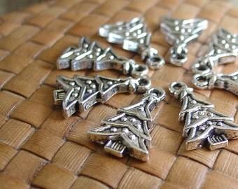 10 or 50 pcs Silver Christmas Tree Charms (14x19 mm)