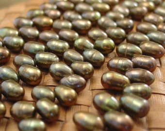 SALE:  15 in strand Iris Bronze Top Drilled Freshwater Pearls - 10% Off