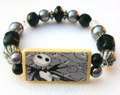 Nightmare Before Christmas, Jack Skellington, Bamboo Tile Bracelet. Black & Silver Beads.