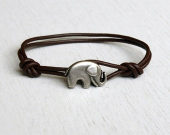 Elephant Leather  Bracelet (many colors to choose)