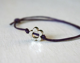 Flower Bracelet / Flower Anklet (Single Flower Bead with Cotton Thread)(many colors)