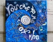Crystal Child - fabric collage wall art - ready to hang