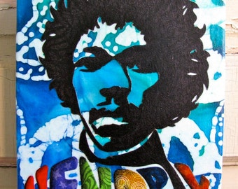 Jimi Hendrix - Fabric collage wall art - Ready to Hang