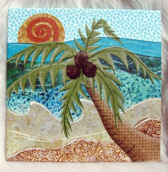 Caribbean Palm Tree Fabric Collage Wall Art No Frame