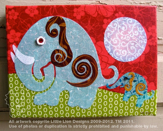 Follow My Lead - Fabric collage wall art - Ready to hang