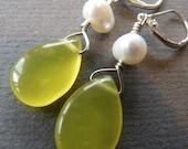 Jade briolette earrings with freshwater pearls