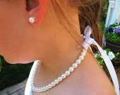 Little Girl Pearl  and ribbon Necklace and earring set perfect for flower girls , first pearls, birthday gift